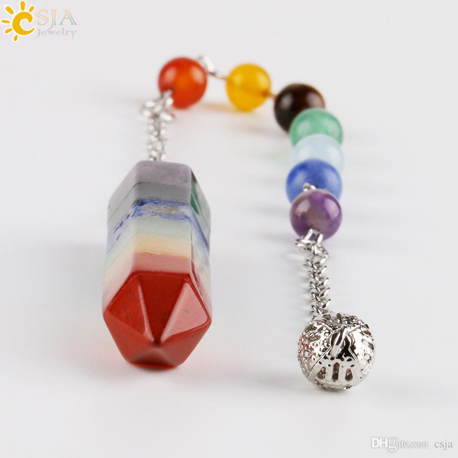 CSJA 7 Chakra Natural Gem Stone Round Beads Copper Chain Hexagon Prism Pendulum Reiki Charm Healing Rainbow Layered Dowsing Pendant E424