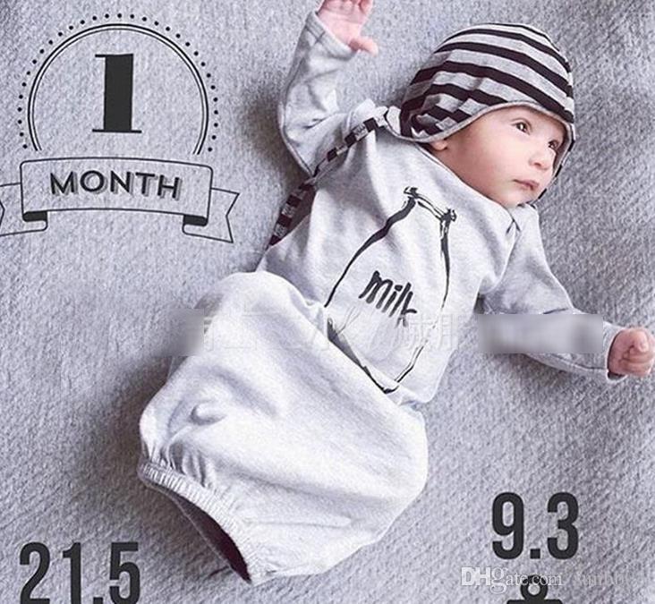 2017 Apring Autumn Ins Infant Baby Sleeping Bag Kids Sleepwear Clothes Toddlers Babies Pajamas Milk Printed Sleeping Clothing