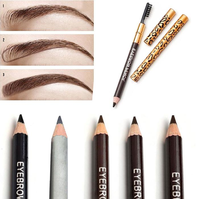 Eyebrow Enhancers 2019 Fashion 3 In 1 Brown Black Eyebrow Powder Sealing Waterproof Eye Liner Waterproof Leopard Eyebrow Eyeliner Pencil Cosmetic