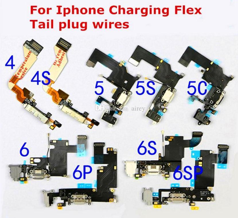new style e1179 fdcbd Free Shipping iPhone 5 5S 5C 6 6S Plus Charging Flex Cables Charging Port  Connector USB Charging Dock