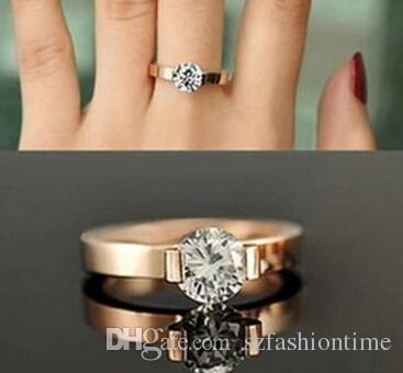 Rose Gold Single Stone Ring Foreign Trade Ring Male And Female