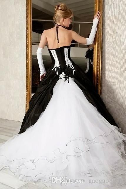 Vintage Black And White Ball Gowns Wedding Dresses 2019 Hot Sale Backless Corset Victorian Gothic Plus Size Wedding Bridal Gowns Cheap