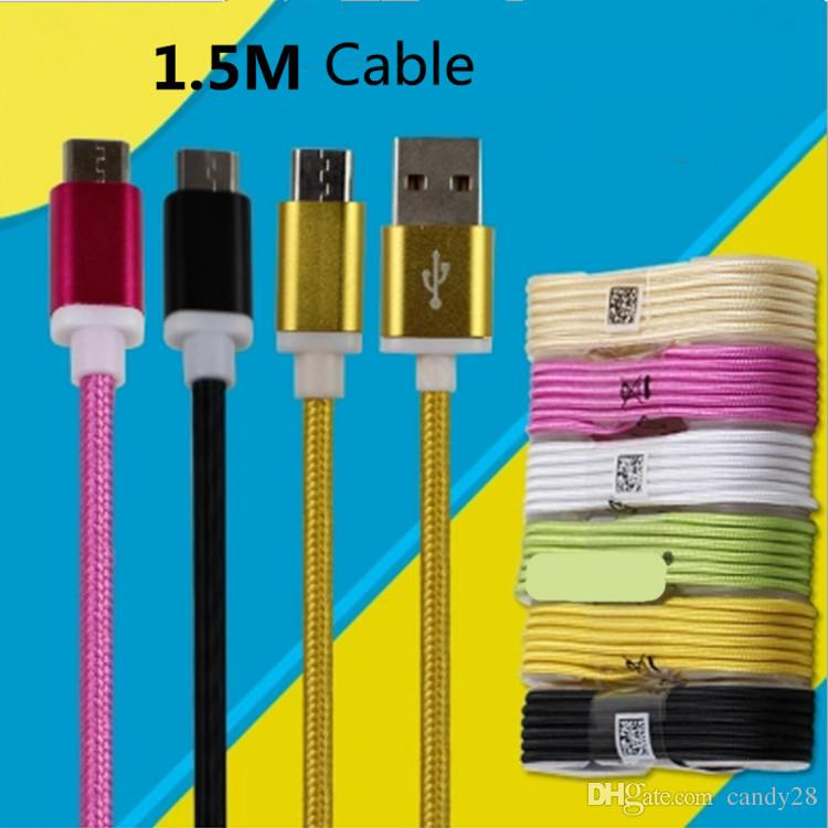 Hight Quality 1.5m 5ft Long Strong Braided Nylon Usb Charging Cable ...