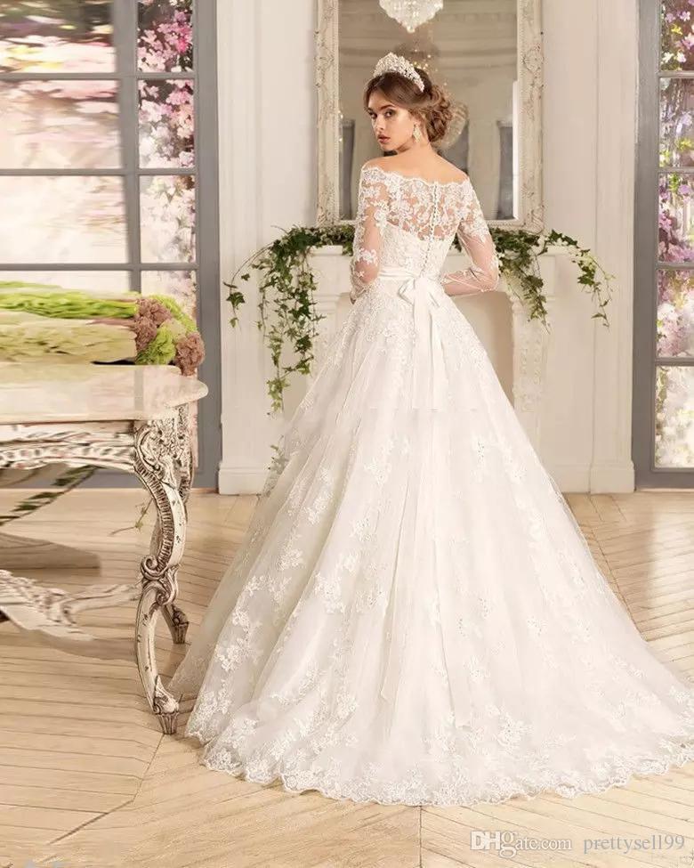 Benutzerdefinierte lange Ärmel SpitzeAppliques Brautkleider 2020 mit Perlen Sash Sweep Zug Tüll Hochzeit Brautkleider