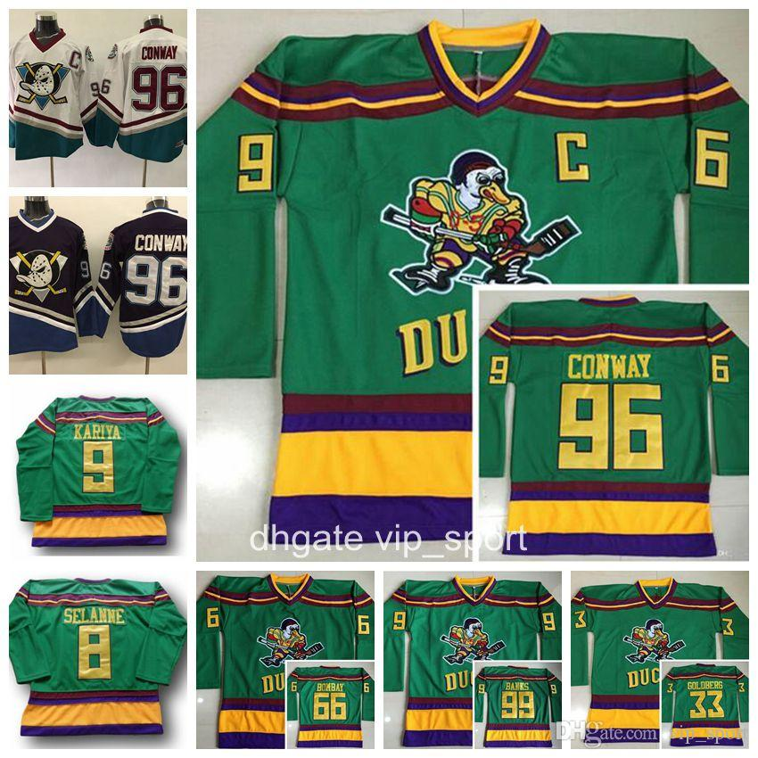 2019 Anaheim Ducks Movie Green 1993 Vintage Jerseys The Mighty Hockey 96  Charlie Conway 33 Greg Goldberg 66 Gordon Bombay 99 Adam Banks Reed From  Vip sport 5ac506de2