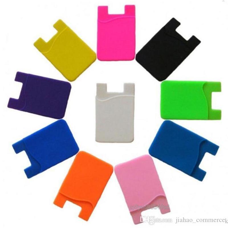Akıllı telefonlar Renkli Silikon Ultra ince Kendinden yapışkanlı Kredi Kartı Cüzdan Kartı Seti Kart Sahibi