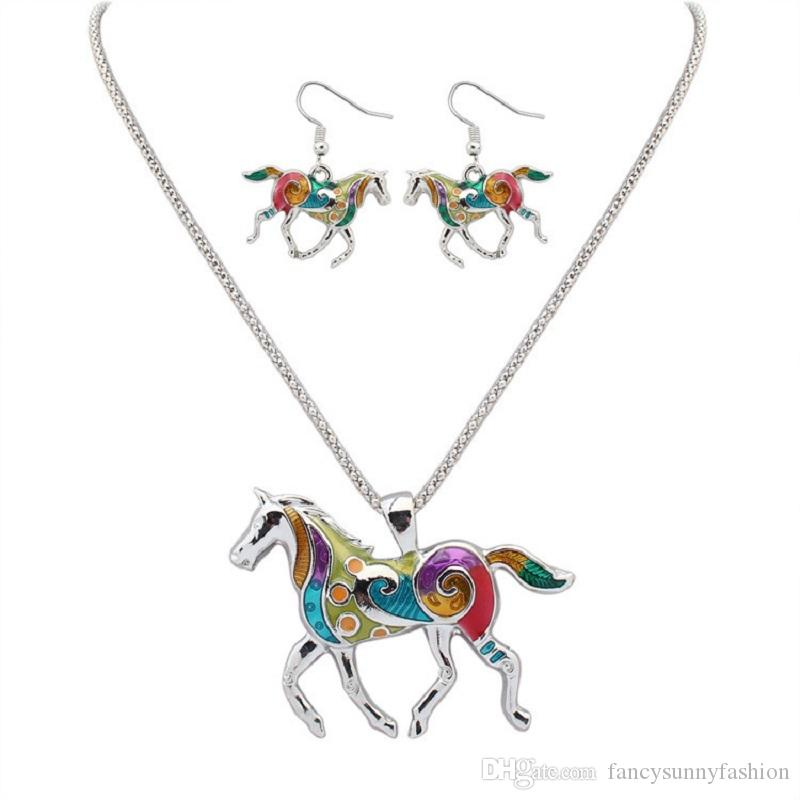 rainbow horse jewellery set dangle earrings necklace chandelier hook fashion earring and necklace for women silver gold chain wholesale