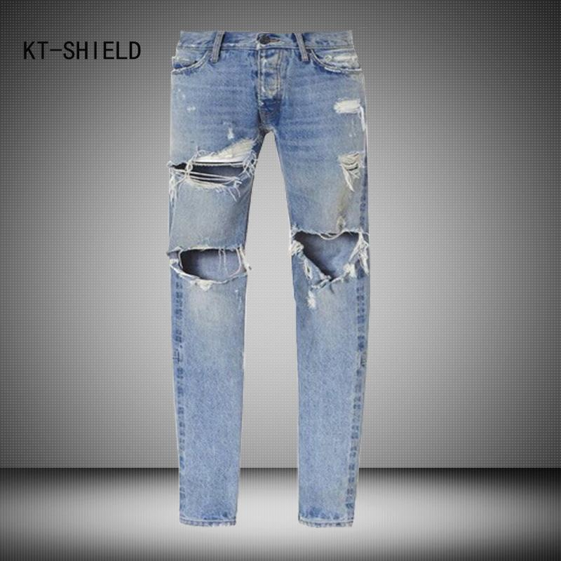 2019 Wholesale Best Version Men Vintage Destroyed Skinny Blue Denim