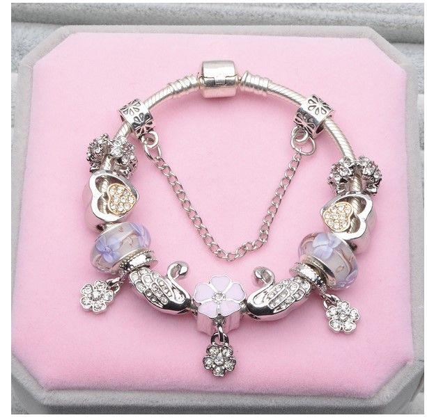 925 Sterling Silver Purple Murano Glass Beads Charm Magnolia Flower Dangle Five Petals Flower Fit Women Pandora Bracelet Bangle Diy Jewelry