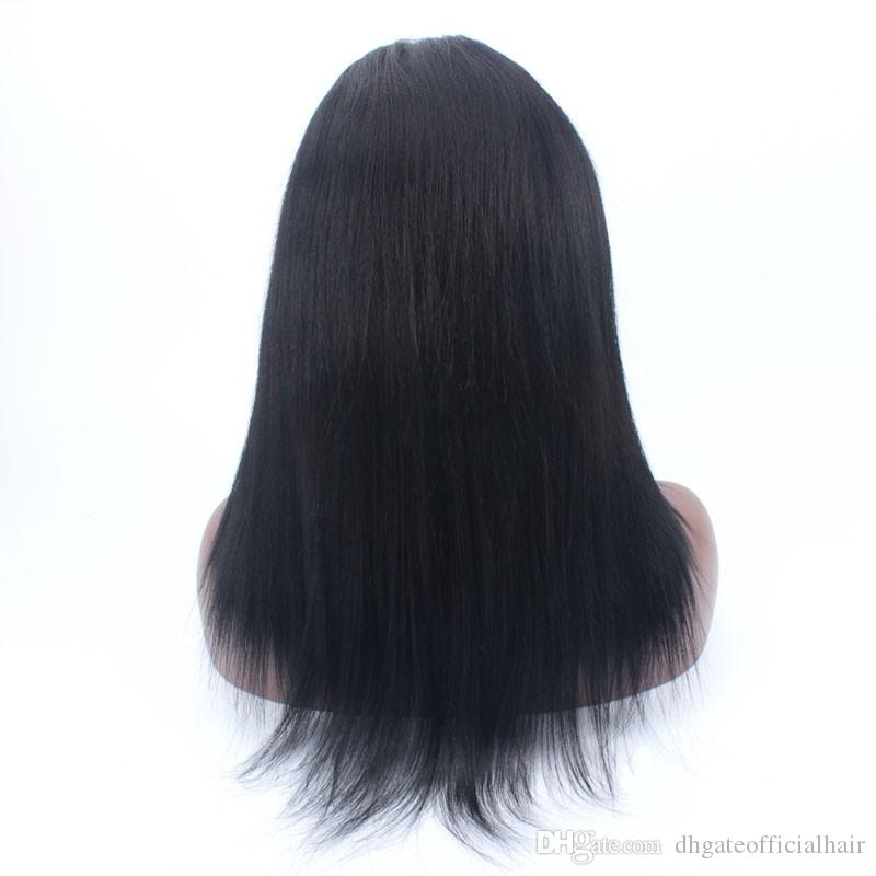 Hot sale Silk Base Top Full Lace Lace Front Wig yaki straight Brazilian Malaysian Human Hair Wig With Baby Hair for black women