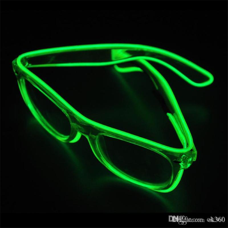b436c30657 2018 Fashion Top El Wire Neon Led Light Up Shutter Led Glow Glasses Rave  Costume Party Dj Bright Flash Sunglasses From Ok360