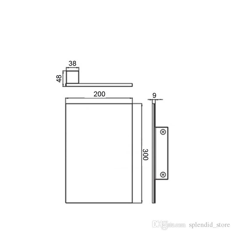 Pommeau de douche monté sur le mur moderne grand douche en laiton douches de baignoire 200 * 300 * 9mm accessoires de salle de bains