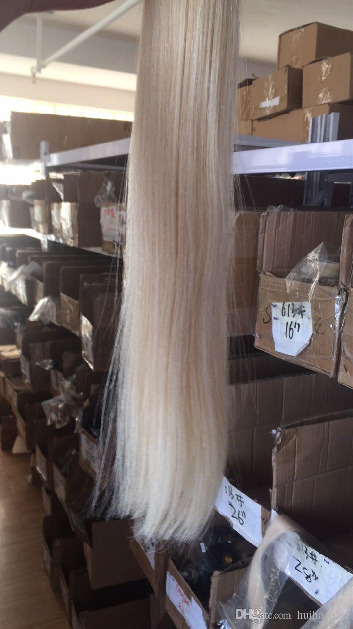 8A Platin sarışın düz saç, 613 brezilyalı saç 3 demetleri, Karışık uzunluğu 8-30 inç, İşlenmemiş insan saçı örgü atkı