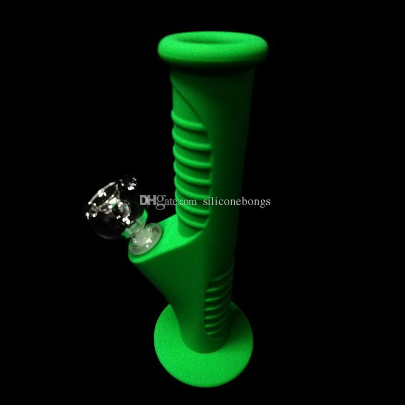 Resplandor en verde oscuro 420 Mini Bongs de agua de silicona Diez colores 9.5 pulgadas Mini Bongs de silicona Bongs de agua Bongs irrompibles Tubos de burbujeo