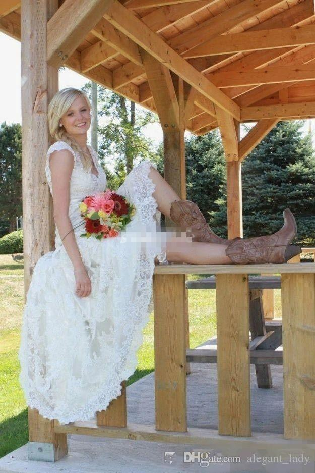 Vintage Tea-length Country Wedding Dresses Modest Fashion Lace cowboot V Neck Cap Short Sleeves cowboy Western Boho cheap bridal gown