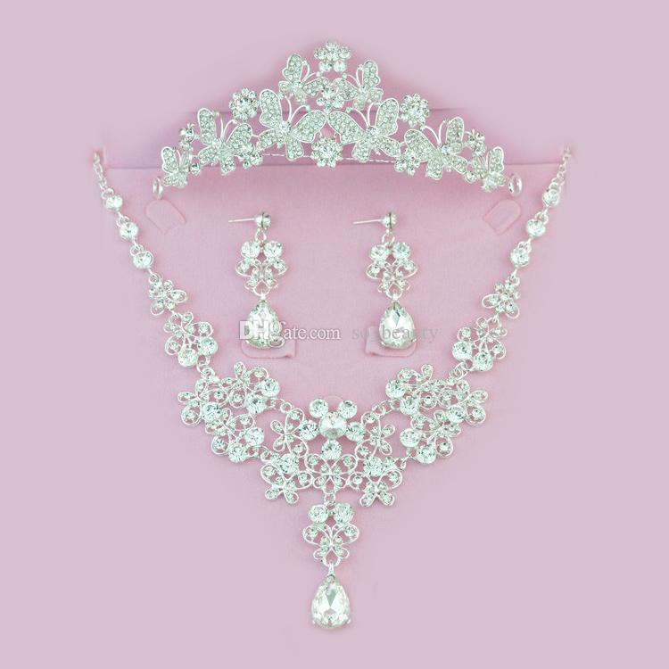 Twinkling Bridal Crown Necklace Earrings Set Tiaras Floral Butterfly Bridal Jewelry Accessories Wedding Party Sets S005 Ear Needle or clip