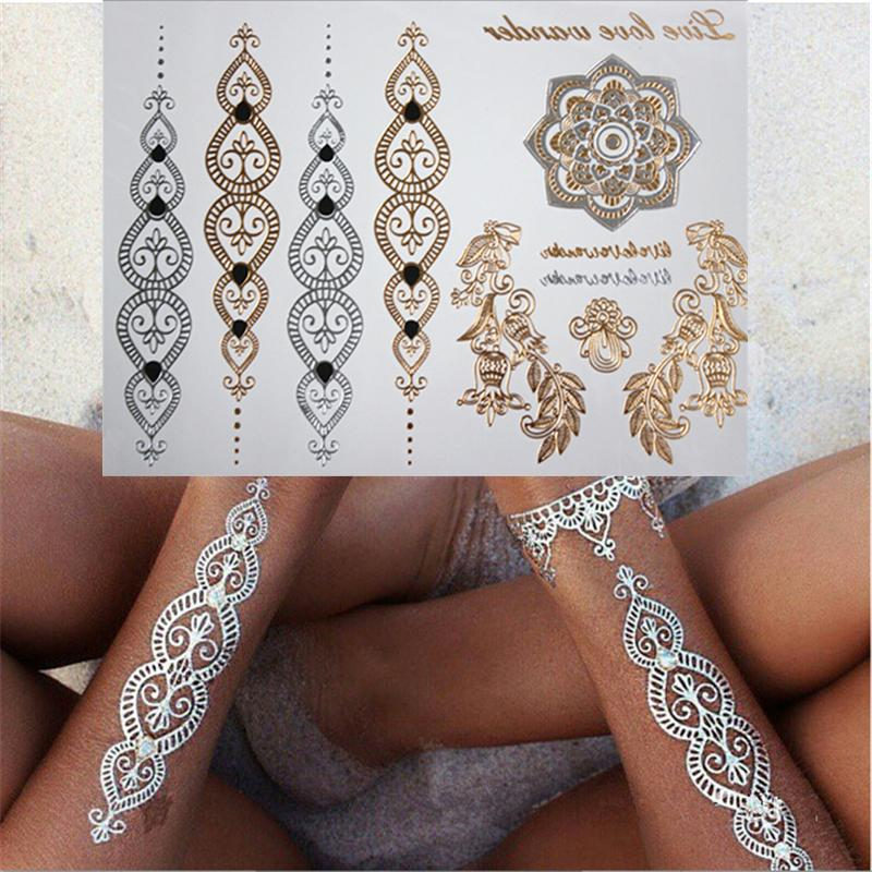 Wholesale Model 035 Gold And Silver Flash Tattoos One Time