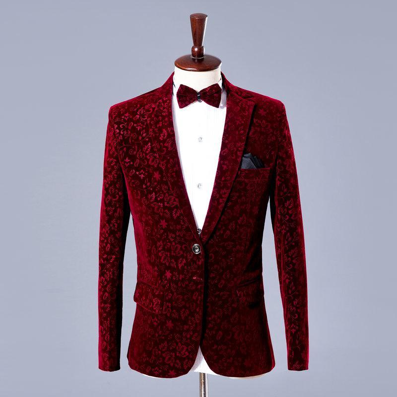694b1b2813 2017 Wine Red Male Costume Fashion Studio Good Quality Male Formal Dress  The Men S Clothing Groom Wedding Dress Set Loading Singer Show Fur Leather  Jacket ...