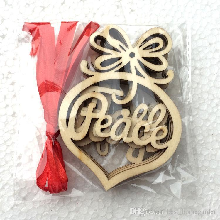 New Christmas letter wood Heart Bubble pattern Ornament Christmas Tree Decorations Home Festival Ornaments Hanging Gift bag