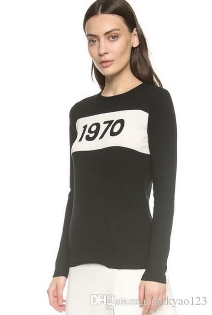 Spedizione gratuita 2019 Rosa / Rosso / Grigio / Nero 1970 Print Wome's Pullover Brand Same Style Women's Sweaters DH002