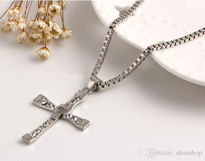 The Fast And The Furious Dominic Toretto Vin New Movie Jewelry Classic Rhinestone Pendant Gold Sliver Men Cross Necklaces