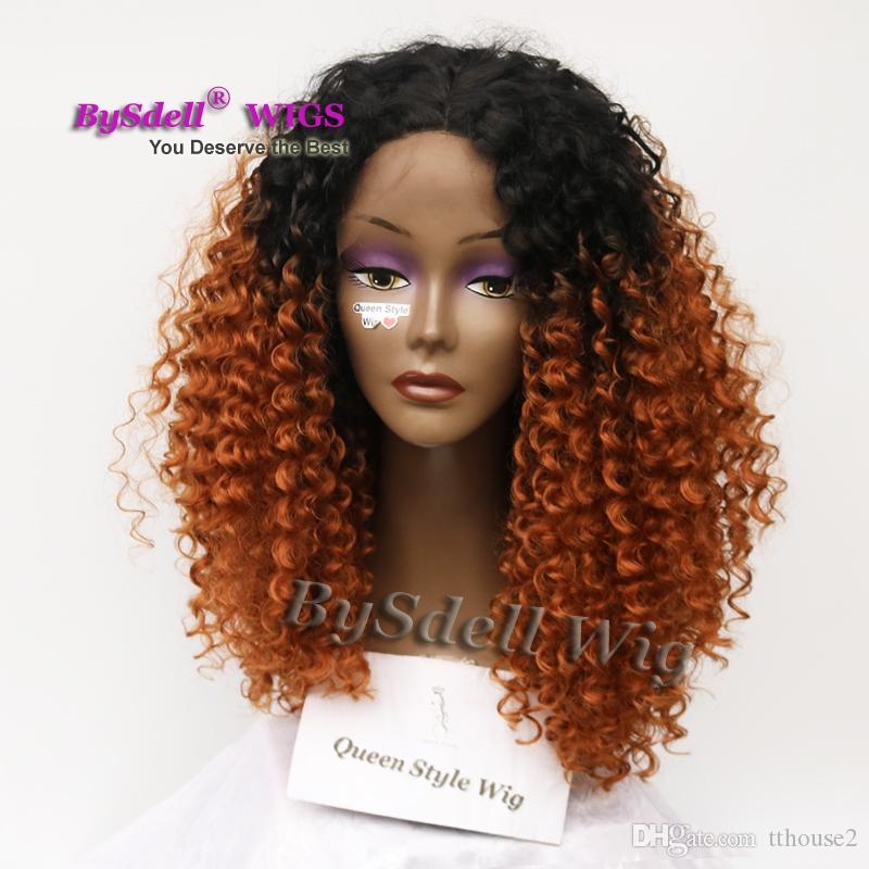 Hot Sale Synthetic Lace Front Wig Two Tone Black Ombre Brown Color Hair Front LACE Wigs for Black Woman