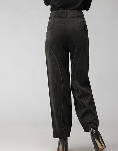 Pantaloni Bloomers le donne più taglia alta vita pantaloni di velluto a coste di velluto casual nero verde rosso primavera autunno misto cotone pantaloni seb0704 femminile