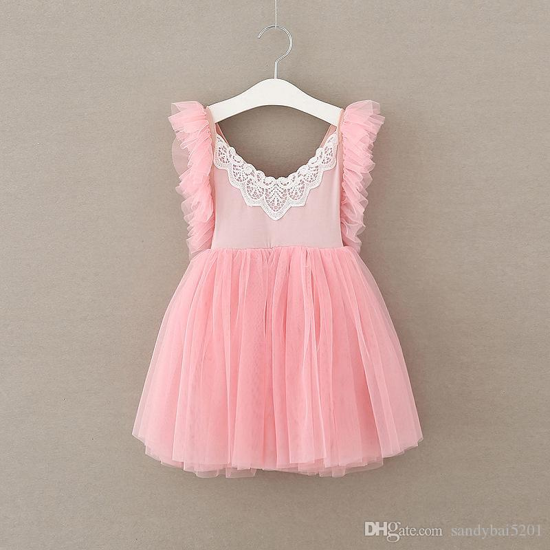 Kids Girls Lace Dresses Baby Girl Floral Tutu Dress Boutique 2017 Infant Princess Ruffle Suspender Dress for Party Children Clothing B133