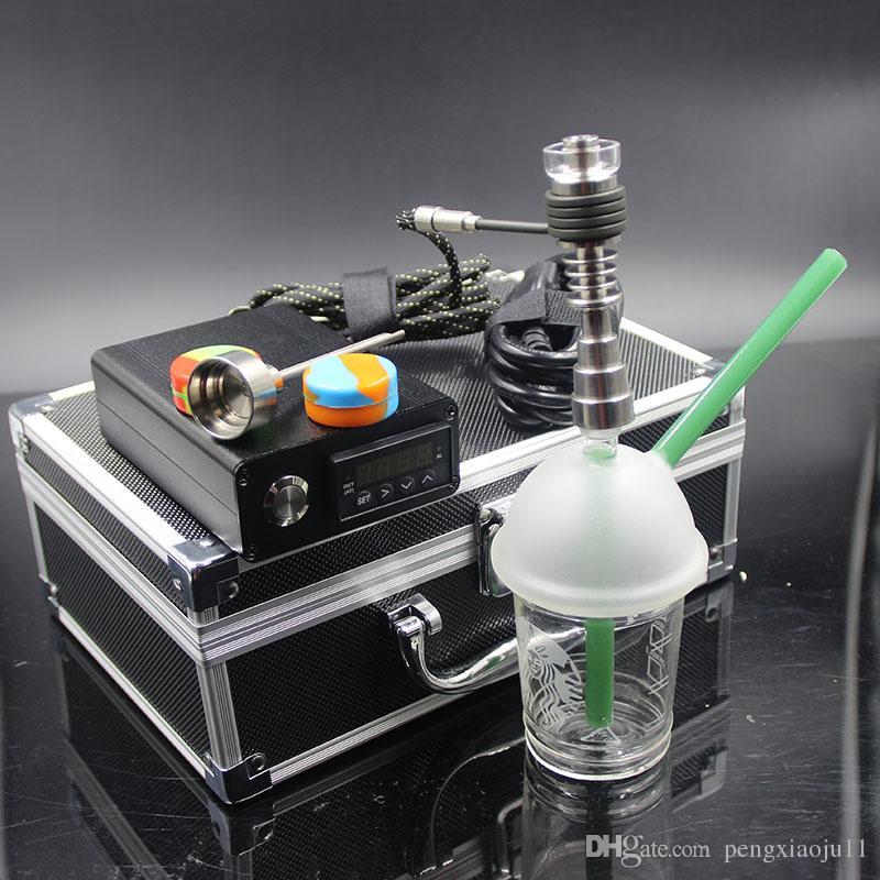 Mini caja de controlador de temperatura dnail portátil D clavo con calentador de bobina con plataformas de bong de vidrio de tubería de agua