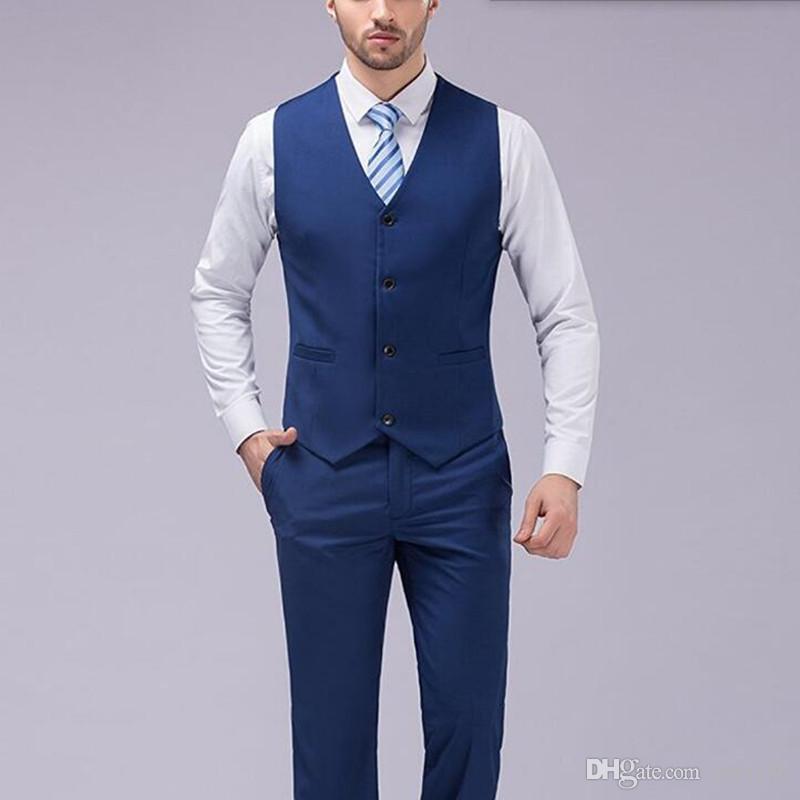 Son tasarım erkekler takım elbise şık moda erkekler düğün takımları smokin mavi yaka bir düğme iş resmi takım elbise ceket + yelek + pantolon