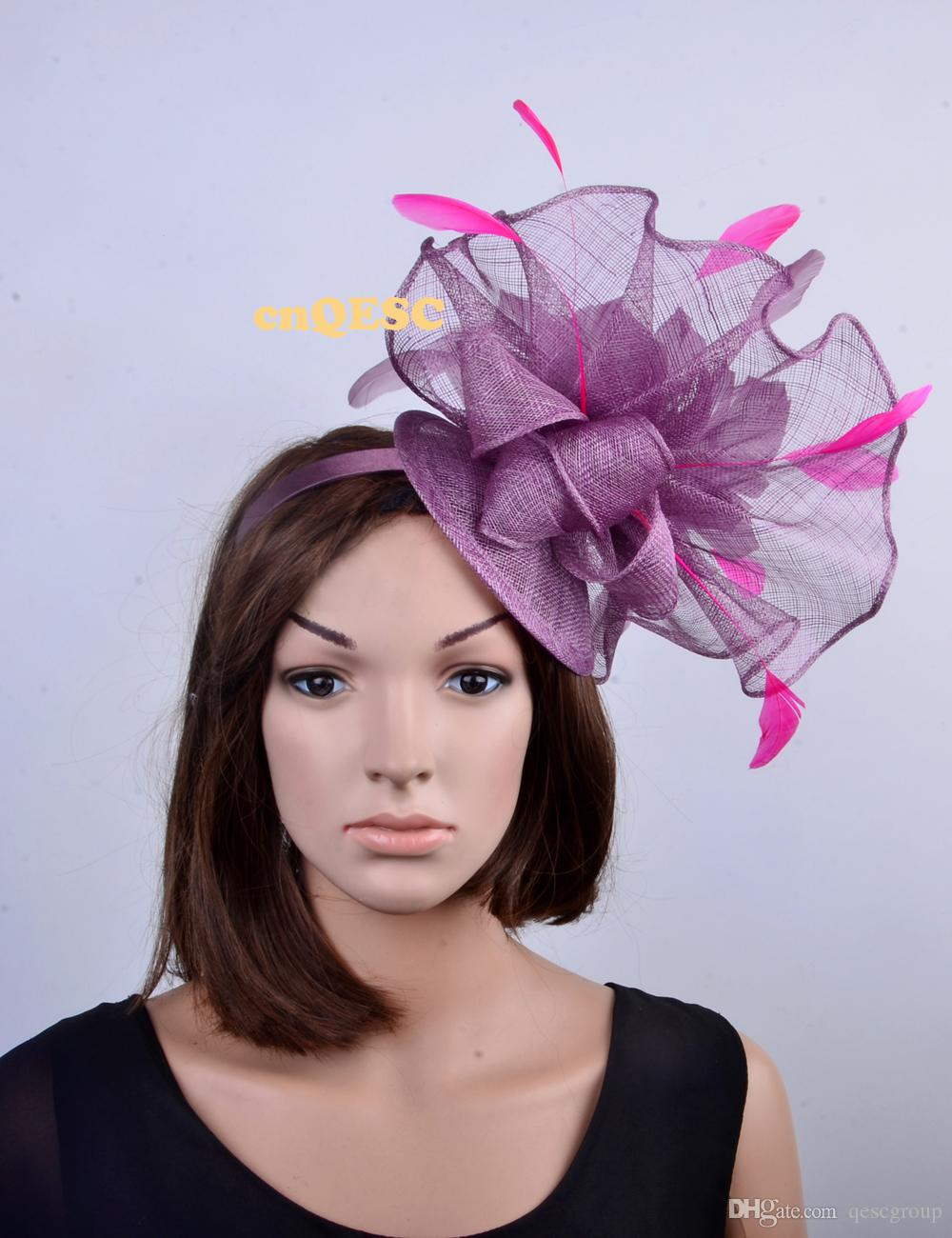 NEW heather purple hot pink Big Sinamay feather fascinator hat for kentucky derby,melbourne cup,ascot races,wedding party..