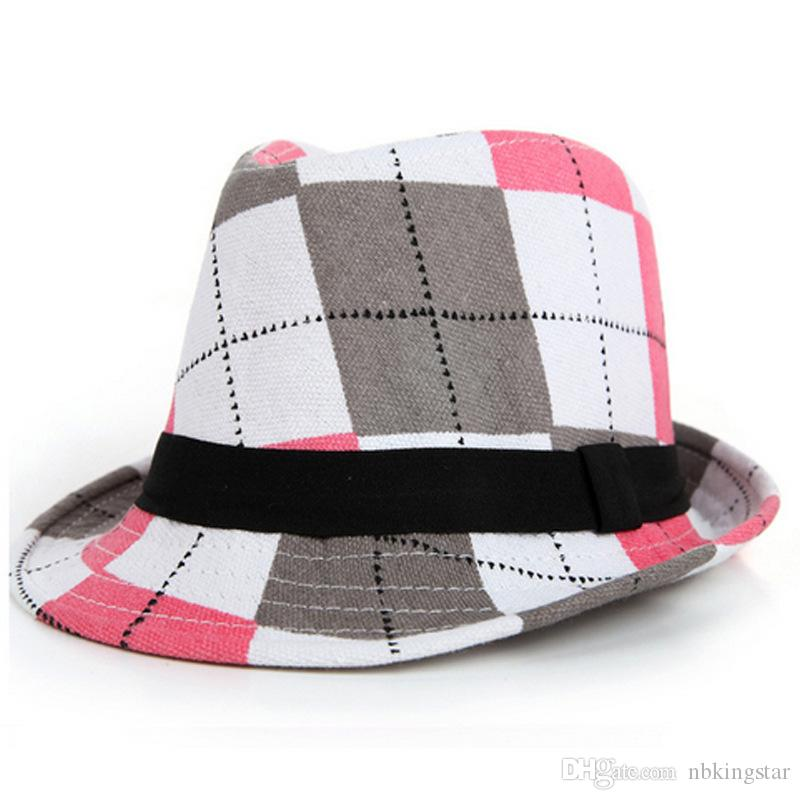 5b4a01a3fca04 2019 Kids Printing Jazz Hat With Ribbon Beach Print Plaid Bucket Hats  Fashion Children Flower Fedora Trilby Cap For Boy And Girl From Nbkingstar