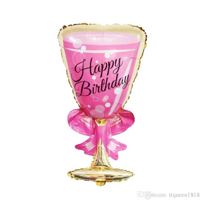 Birthday Pink Cup foil balloons inflatable Pink wine glass globos birthday party decorations