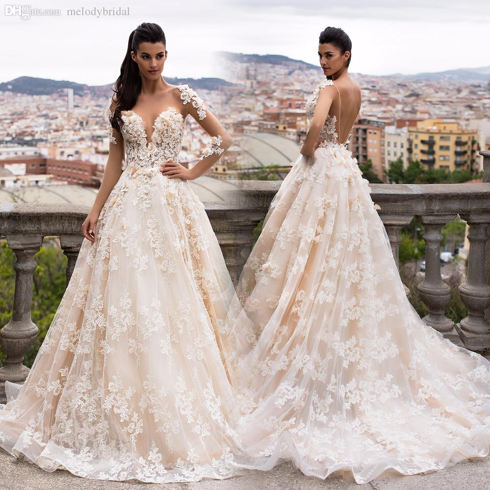 Gorgeous Sheer Ball Gown Wedding Dresses 2017 Puffy Beaded: Discount Gorgeous Sheer A Line Backless Wedding Dresses