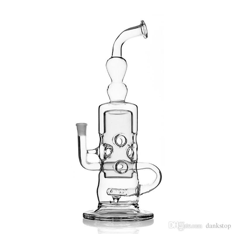 El vidrio transparente más nuevo de bongs con una plataforma petrolera de 37 cm de altura bongs de vidrio Tubo que fuma hembra 14.4MM conjunta