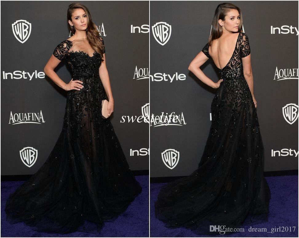 Cheao Elie Saab Evening Dresses Short Sleeve Illusion Neckline Beading Black Nina Dobrev Golden Red Carpet Celebrity Dress Prom Gowns 2017