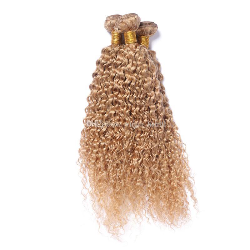 Truskawka Blondynka Afro Kinky Kręcone Ludzkie Włosy Wyplata Dziewiczy Malezyjski Weft Wiązki Wiązki 27 Afro Kinky Kręcone Blond Przedłużanie Włosów 3 sztuk / partia