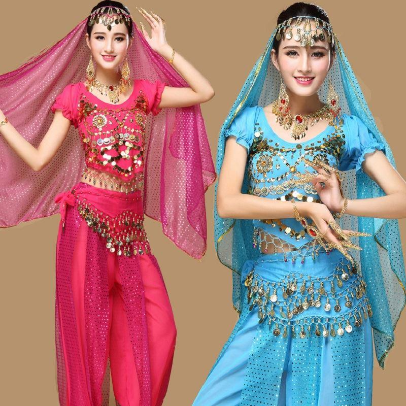 Fashion Indian Belly Dance Costumes 5PCS/Set Pant+Top+Belt+Veil+Head Accessories Dancewear Halloween Dress Stage Clothing