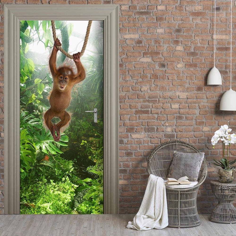 3D Forest Monkey Door Wall Stickers Bedroom Home Decor Poster PVC Waterproof Door Sticker 77x200cm Monkey Home Decor Wallpaper Online with $30.39/Piece on ... & 3D Forest Monkey Door Wall Stickers Bedroom Home Decor Poster PVC ...