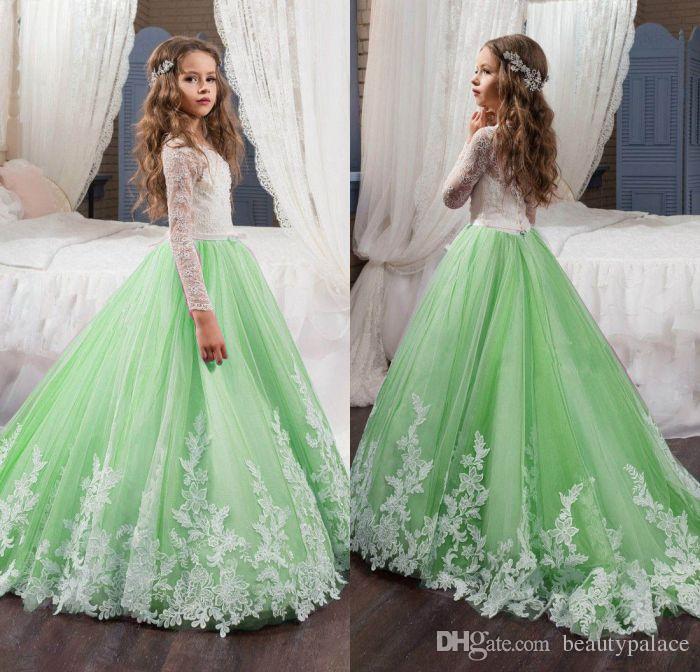 2017 Belle Vert Et Blanc Fleur Filles Robes A Manches Longues Dentelle Applique Arcs Pageant Robes Pour Enfants Fete De Mariage
