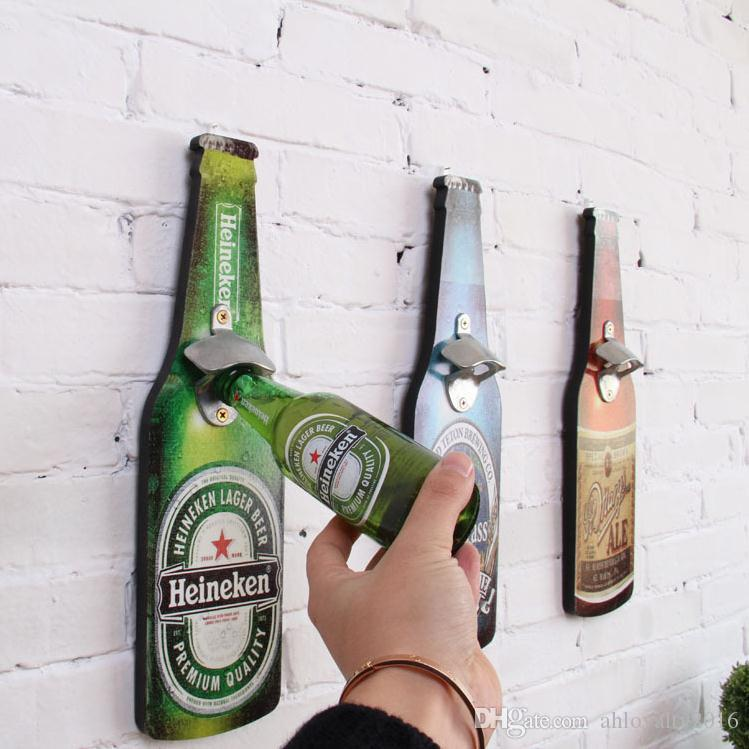 creative retro beer shaped wall bottle opener vintage wall mounted wood plaque bottle openers restaurant pendant from 553 dhgatecom