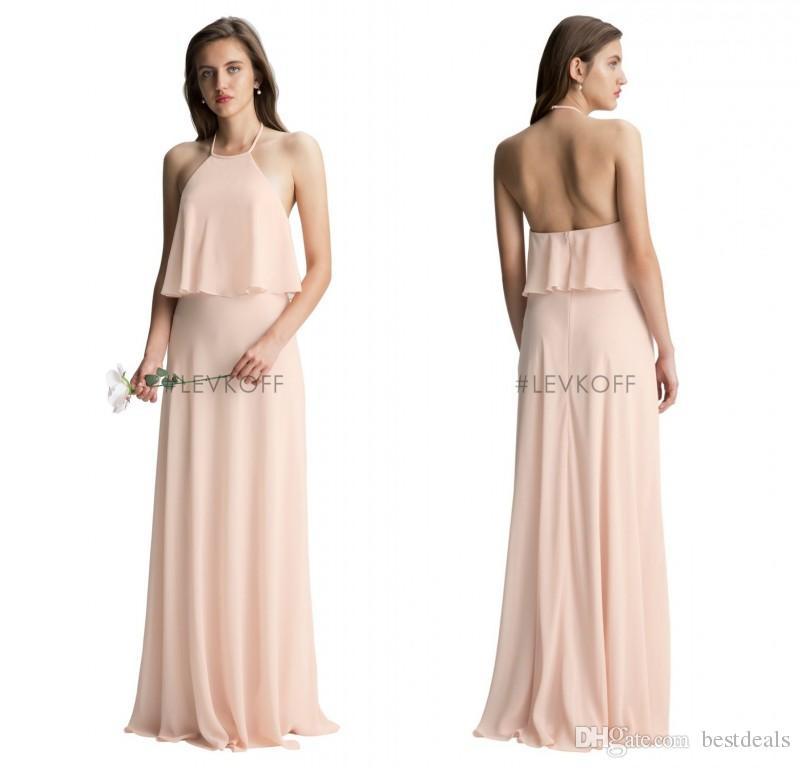 Bill Levkoff 2017 Blush Pink Halter Bridesmaid Dresses Flow Chiffon ...