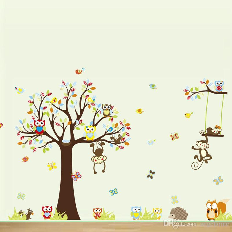 234 * 150 cm Forêt Mignon Animal Singes Jouant Sur Les Arbres Hiboux Autocollant Mural Sticker Bricolage pour Chambre D'enfants décor à la maison enfants cadeau