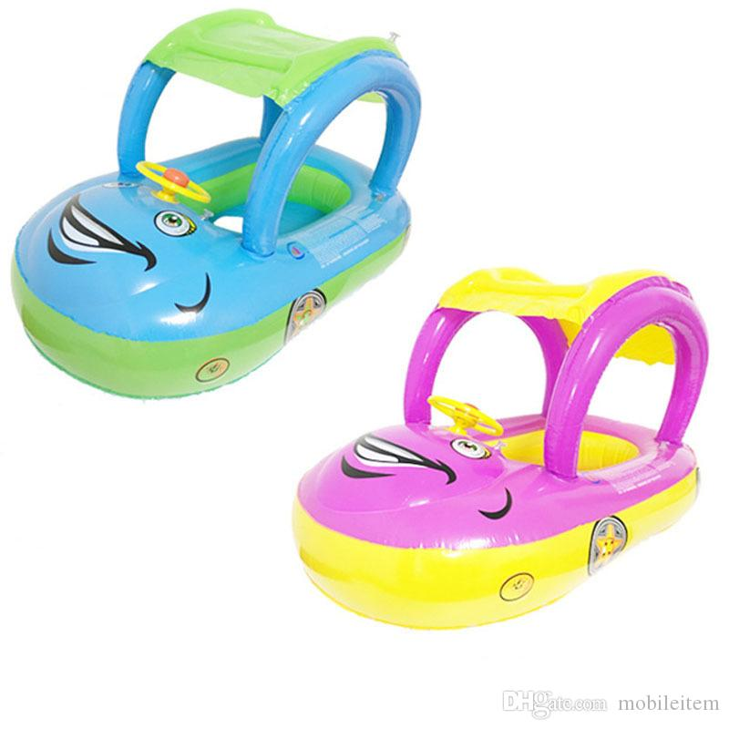 Cute Baby Swim Ring with Sun Shade Car Seat Life Vest Buoy Swimming ...