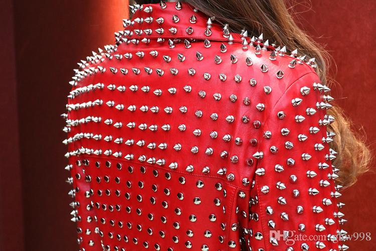 Remache de metal delgado cuero delgado cuero de LA PU mujeres de cuero de lavado PUNK chaqueta femenina envío gratis