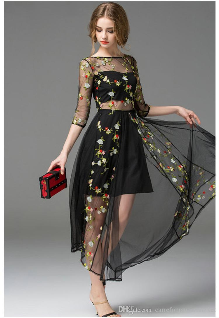 Hot Black Embroidery Morning Glory Long Sleeve Gauze Runway Formal Dress  Mesh Embroidered Maxi Boutique Dress Big Show Catwalk Full Dress Cocktail  Dresses ... 2c9f59a56