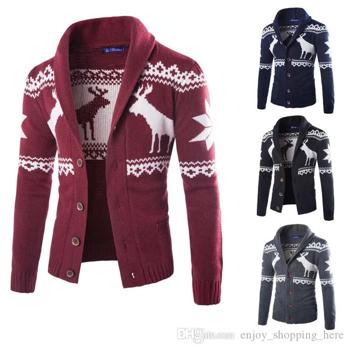 Mens Christmas Sweater.Christmas Sweater Men Cardigan Button Lapel Neck Knitting Jackets Sweater With Deer Long Sleeves Winter Autumn Sweaters M Xxl