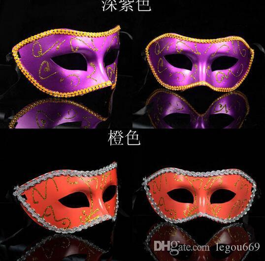 Vendita calda i Mezza faccia Novità Masquerade Maschera Treccia Maschera Veneziana Maschera Mardi Gras Maschera Partito HJIA1073