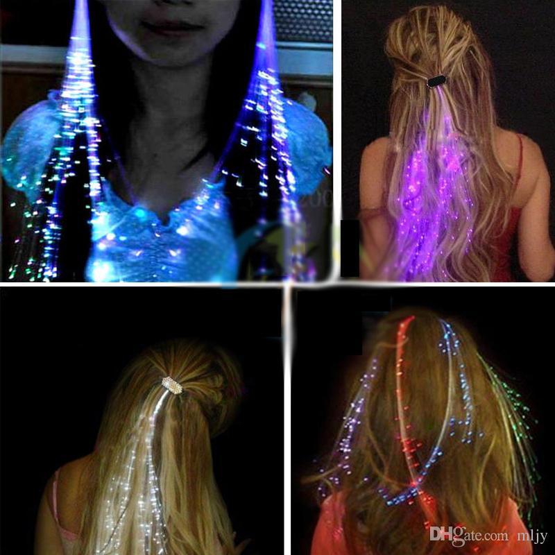 Fiber Optik LED Saç Işıkları Shining Saç Örgüler Barrette Flaş LED Fiber Firkete Klip Light Up Kafa Bandı Parti Glow Malzemeleri Noel Hediyesi