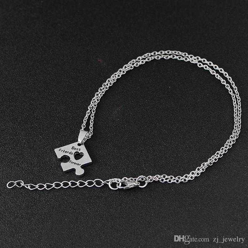 BFF Charm Jigsaw Puzzle Pendant Necklaces Leterring 'Best Friends Forever 'Friendship Happy Birthday Gift for Women Men